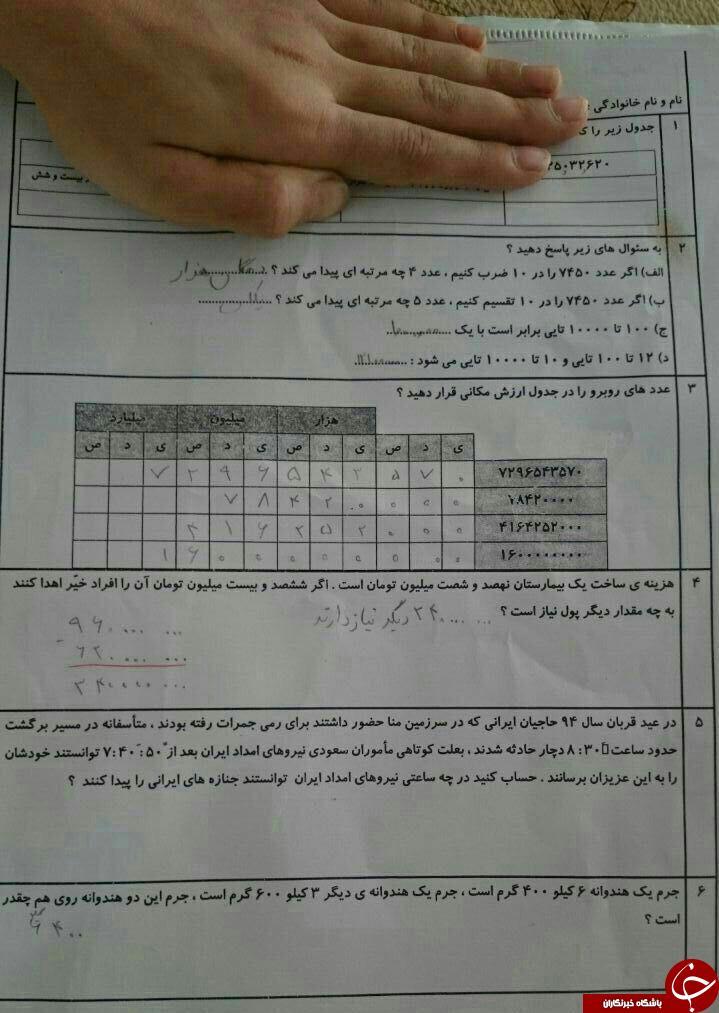 حادثه منا در سؤال امتحان ریاضی+عکس