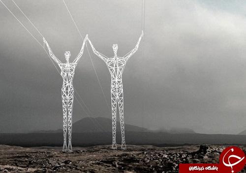 خلاقت با دكل هاي برق در ايسلند +تصاوير
