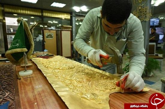 مراحل ساخت قلمزنی مطلای ضریح حرم حضرت عباس(ع) + تصاویر