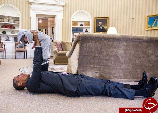 اوباما در کاخ سفید دراز کشید + عکس
