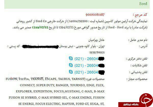 ماشین های فورد چراغ خاموش وارد ایران شدند +سند