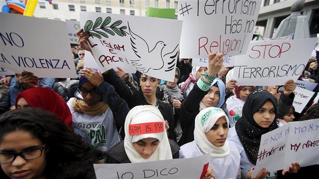 تظاهرات مسلمانان ایتالیا در محکومیت حملات تروریستی+ تصاویر