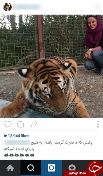 خانم بازیگر در کنار یک حیوان درنده + عکس