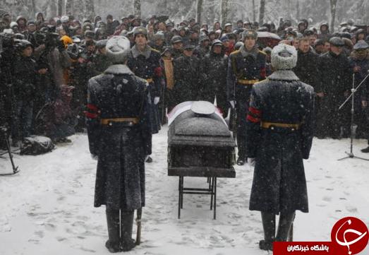 مراسم خاکسپاری خلبان روسی + تصاویر