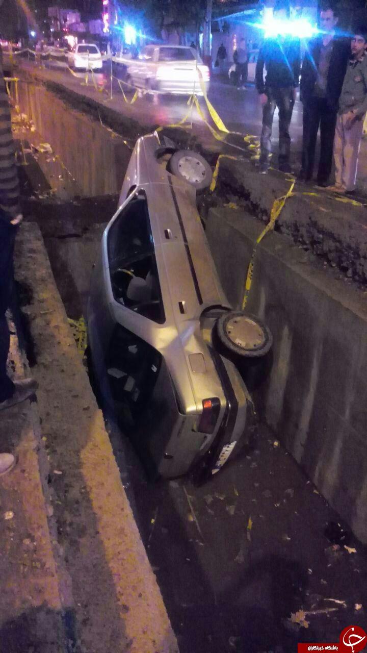 سقوط عجیب خودرو در کانال آب + عکس