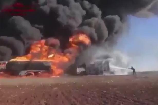 حمله روسیه به داعش, عکس حمله نیروهای روسیه به کاروان نفتی داعش