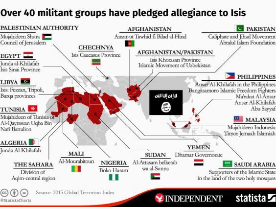 ایندیپندنت: 42 گروه تروریستی از داعش حمایت میکنند+ نقشه