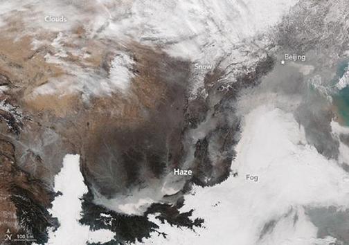 جدیدترین تصویر هوایی از مه دود متراکم در چین + تصویر
