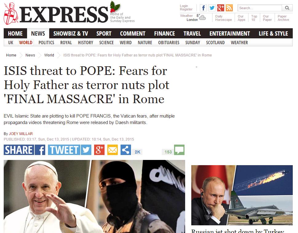 داعش: پاپ را می کشیم+ سند
