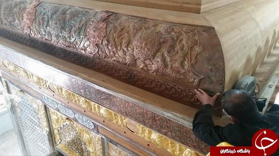 مونتاژ بخش اول سقف ضریح جدید حضرت عباس علیه السلام به پایان رسید.