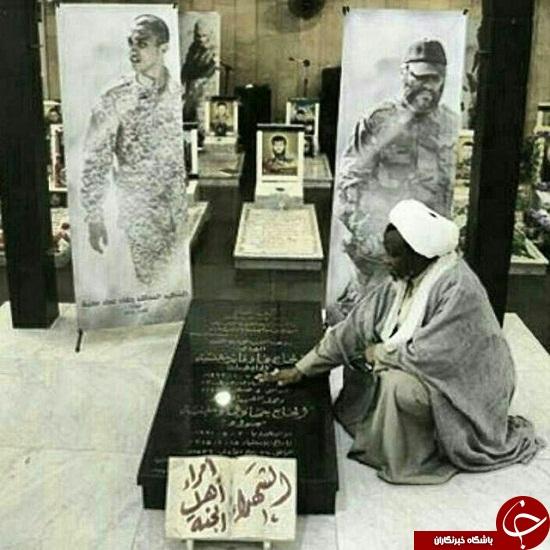 شیخ زکزاکی بر مزار عماد و جهاد مغنیه+ تصاویر