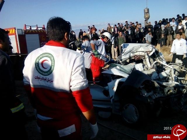 تصادف مرگبار پراید با اتوبوس 5 تن را به کام مرگ کشاند + تصاویر