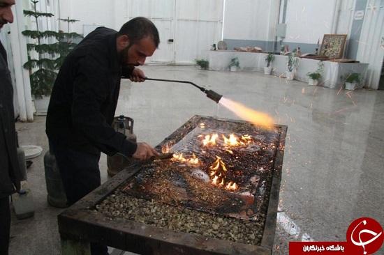 اتمام قلمزنی سقف ضریح جدید حضرت عباس(ع) + تصاویر