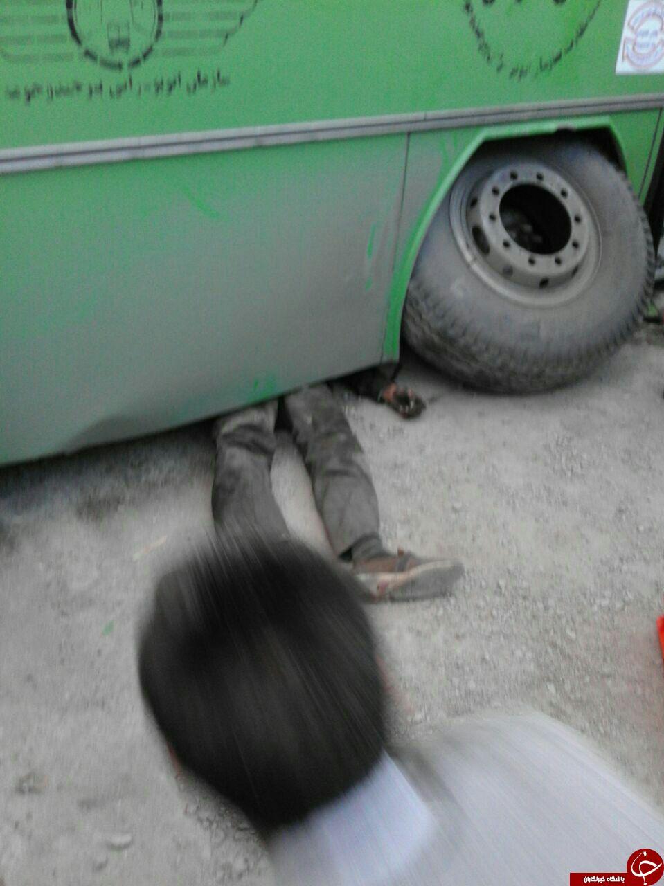 اتوبوسی که روی تعمیرکار آوار شد + فیلم و تصاویر (18+)