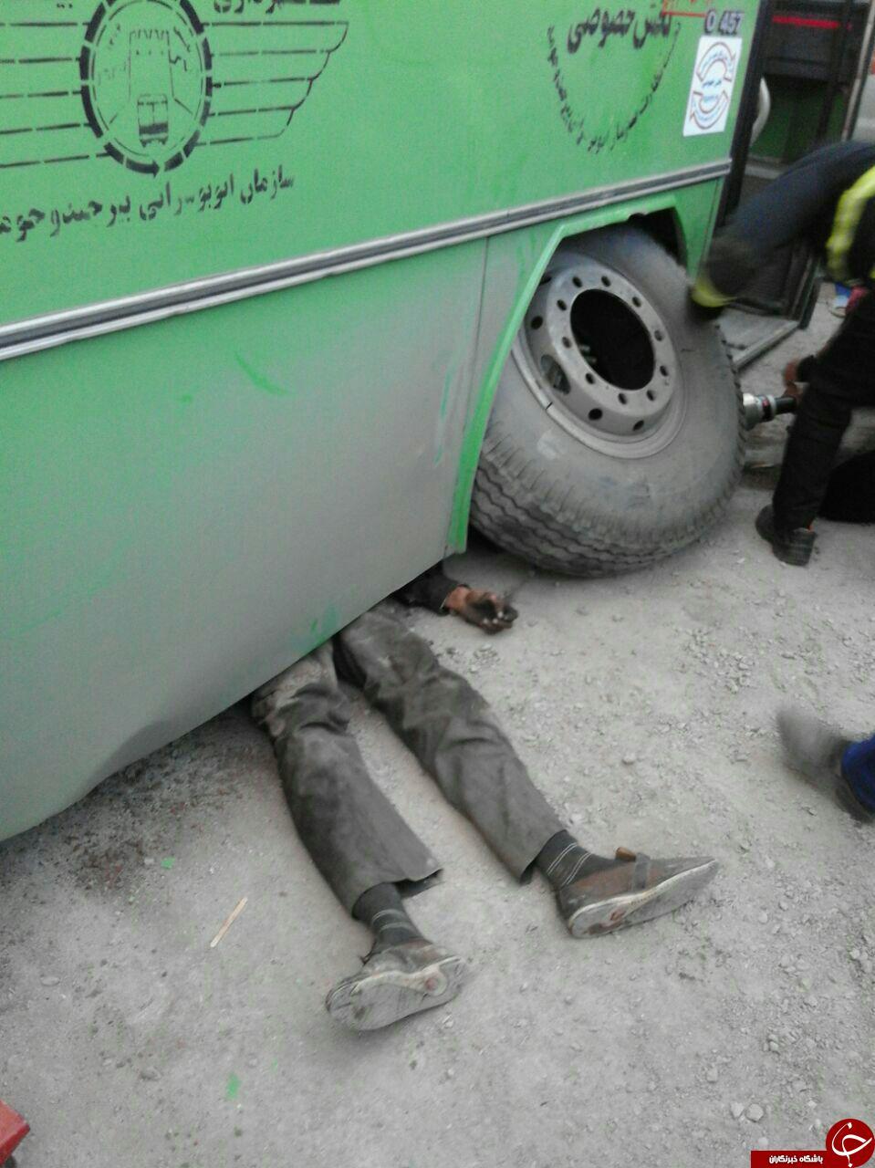 اتوبوسی که روی تعمیر کار آوار شد + فیلم و تصاویر