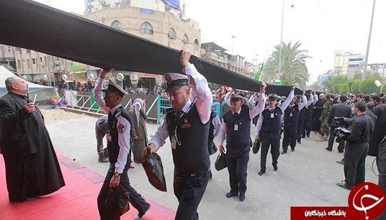 طولانیترین پرچم لبیک یا حسین(ع) در کربلای معلی + تصاویر
