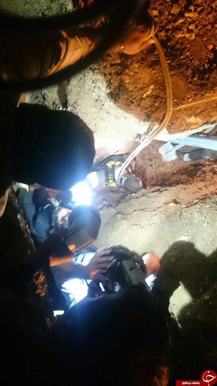 نجات دو کارگر از عمق 4 متری زمین + تصاویر