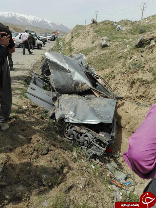 تصادف وحشتناکی که راننده آن جان سالم به در برد + تصاویر