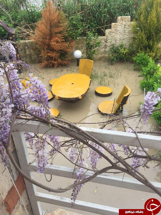 سیل هماکنون در حیاط منازل+ تصاویر