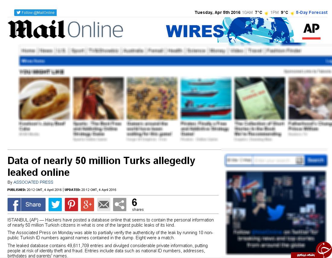 اطلاعات 50 میلیون شهروندان ترکیه هک شد