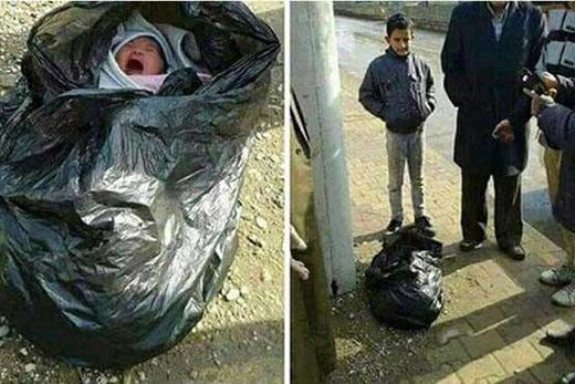 نوزادان رها شده در مقابل بیمارستان +تصاویر