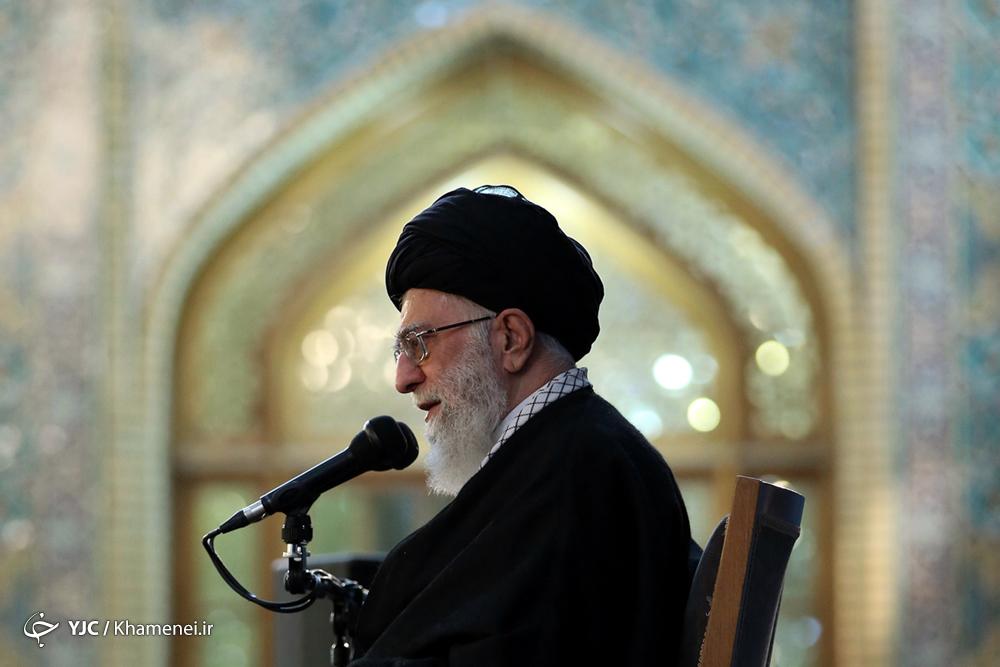 حضور و سخنرانی رهبر معظم انقلاب در حرم مطهر رضوی
