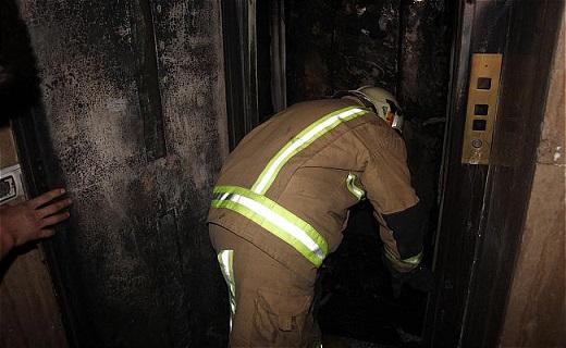آتش سوزی در آسانسور