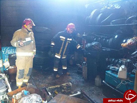 مهار آتش سوزی در کارگاه تعویض روغن خودرو + تصاویر