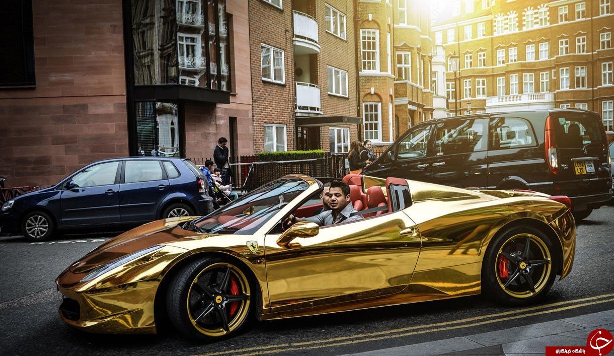 گران قیمت ترین خودرو با روکش طلا در خیابان های اروپا+تصاویر