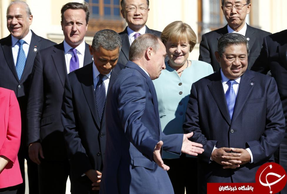 منتخب واکنشهاي پوتين و اوباما در ديدار با هم +تصاوير