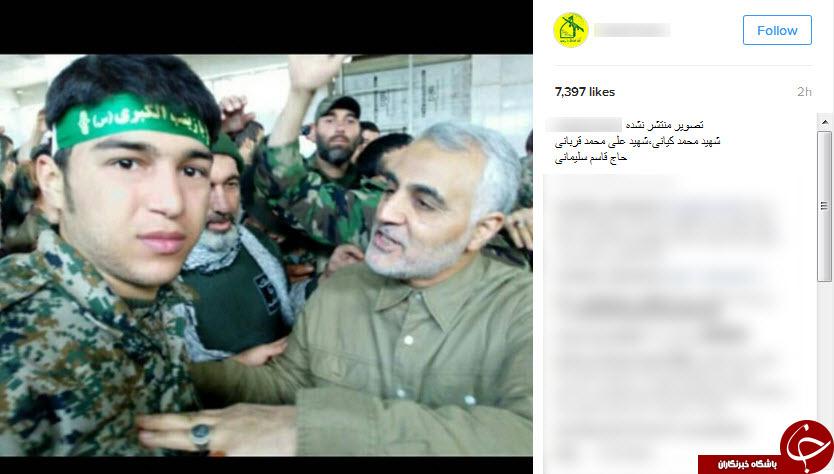 سردار سلیمانی در کنار شهدای مدافع حرم اندیمشک + عکس