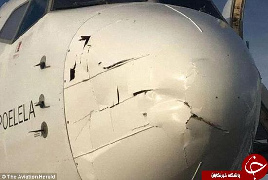 برخورد پهپاد با هواپیما +تصاویر