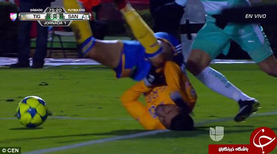 لحظه دلخراش شکستن پای فوتبالیست +تصاویر