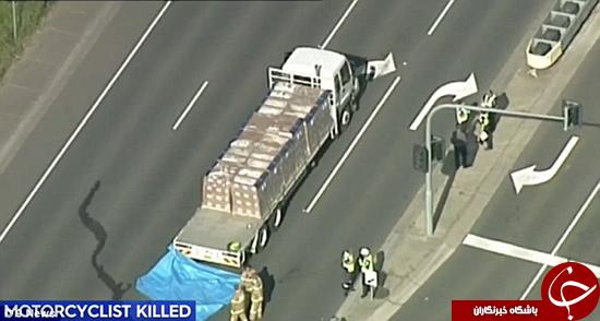 موتور سواری که پشت چراغ قرمز کشته شد +تصاویر