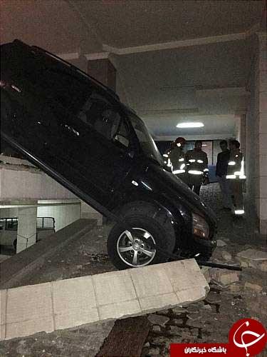 سقوط خودروی شاسی بلند در یک پارکینگ + عکس