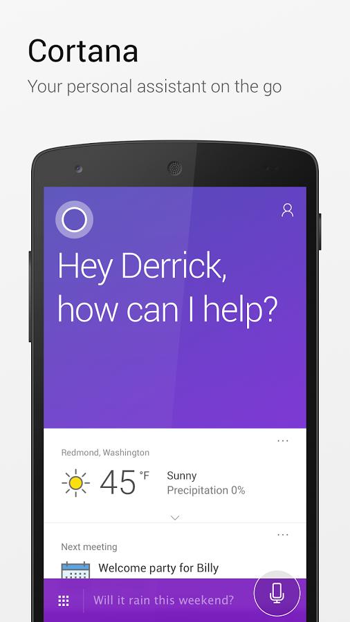 دانلود Microsoft Cortana  برنامه دستیار صوتی کورتانا اندروید / در حال کار