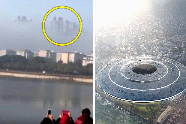 مشاهده شهر شناور موجودات فضایی در آسمان چین+عکس