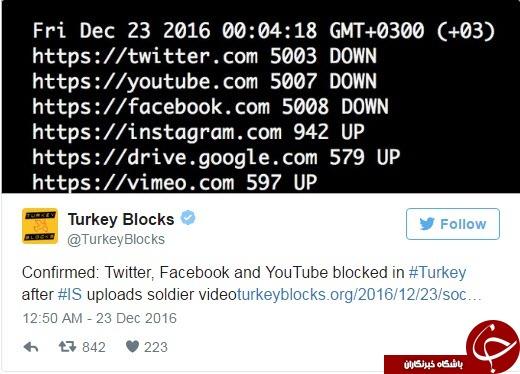 شبکههای اجتماعی در ترکیه مسدود شد