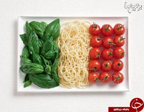 ساخت پرچمهای ملی با غذاهای سنتی کشورها