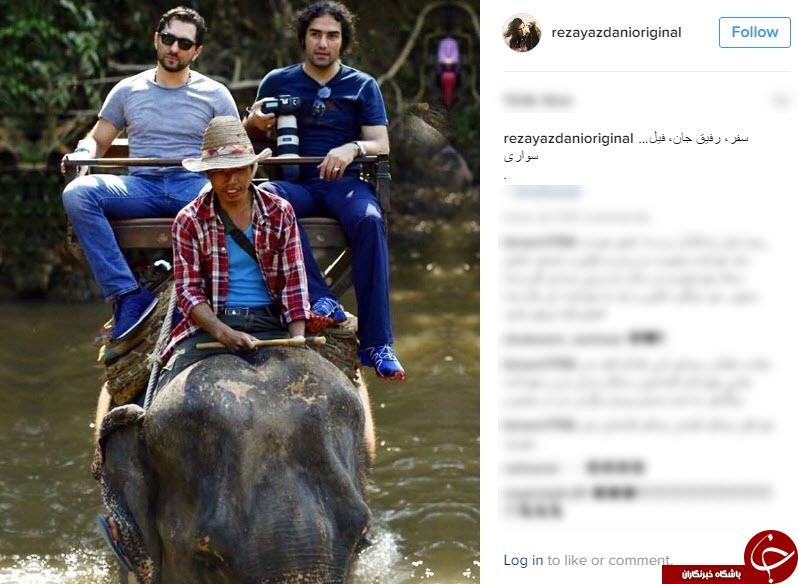 بهرام رادان و خواننده مشهور در حال فیل سواری در تایلند+ اینستاپست