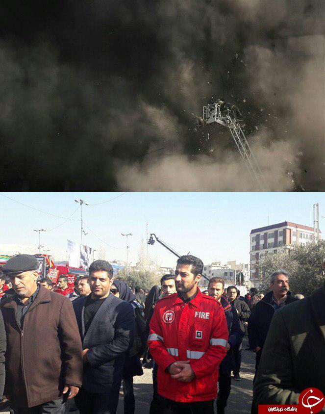 حضور آتش نشانی که به طور معجزه آسایی نجات پیدا کرد در مراسم تشییع آتش نشان +عکس
