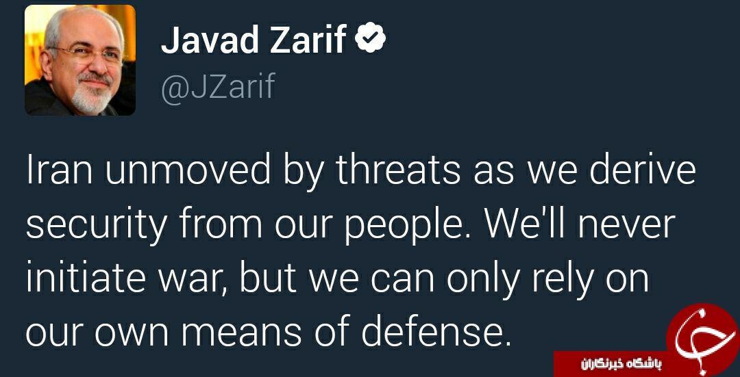 واکنش محکم ظریف به توئیت تهدیدآمیز ترامپ +توئیت
