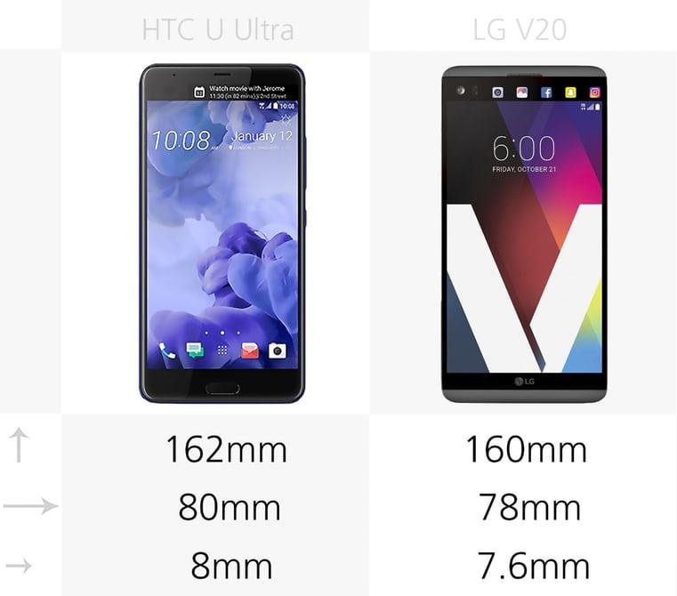 مقایسه گوشی LG V20 با HTC U Ultra