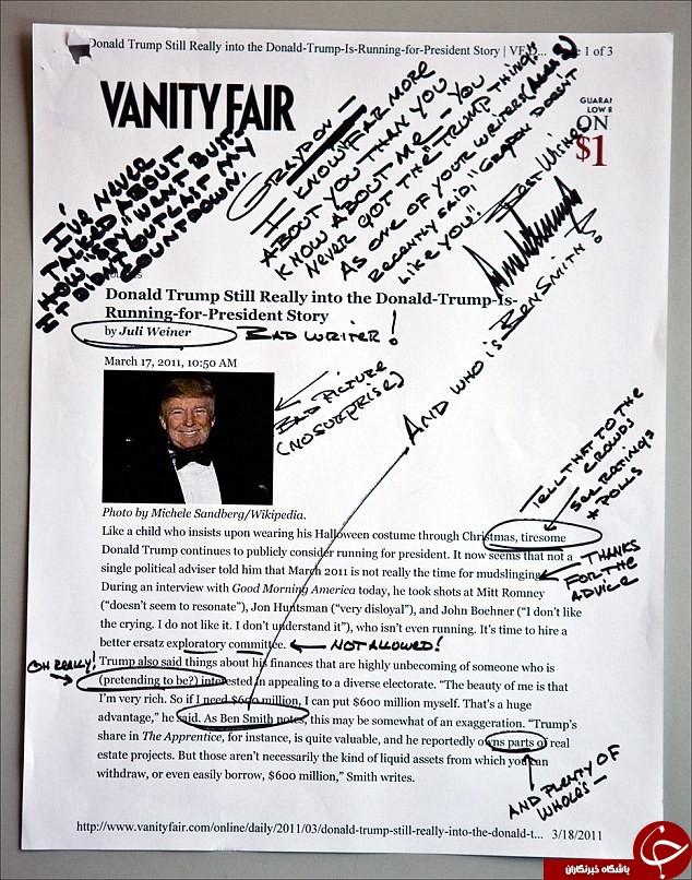 شخصیت ترامپ را از روی دست خطش بشناسید+ تصاویر