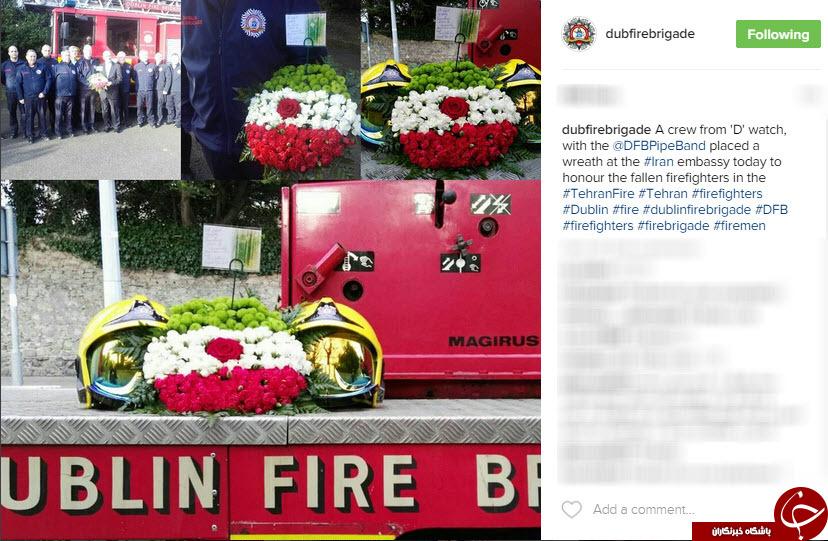 ماشین های آتش نشانی دوبلین به پرچم ایران مزین شد+عکس