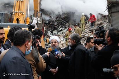 باشگاه خبرنگاران -حضور مسئولین کشوری در محل حادثه ساختمان پلاسکو