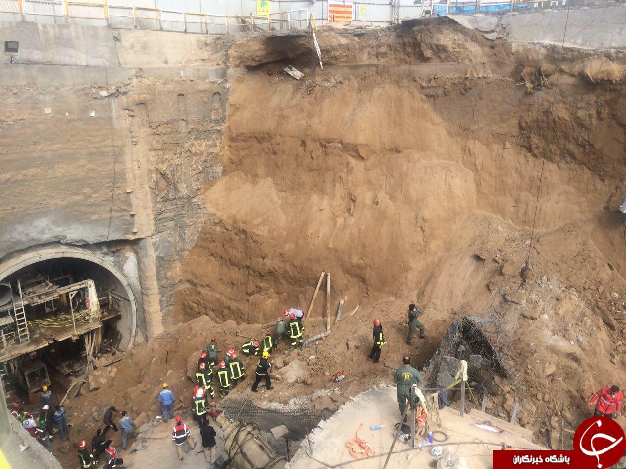 فرو ریختن تونل مترو در قم + تصاویر