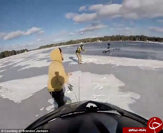 لحظه دراماتیک نجات دختر از دریاچه یخزده +تصاویر