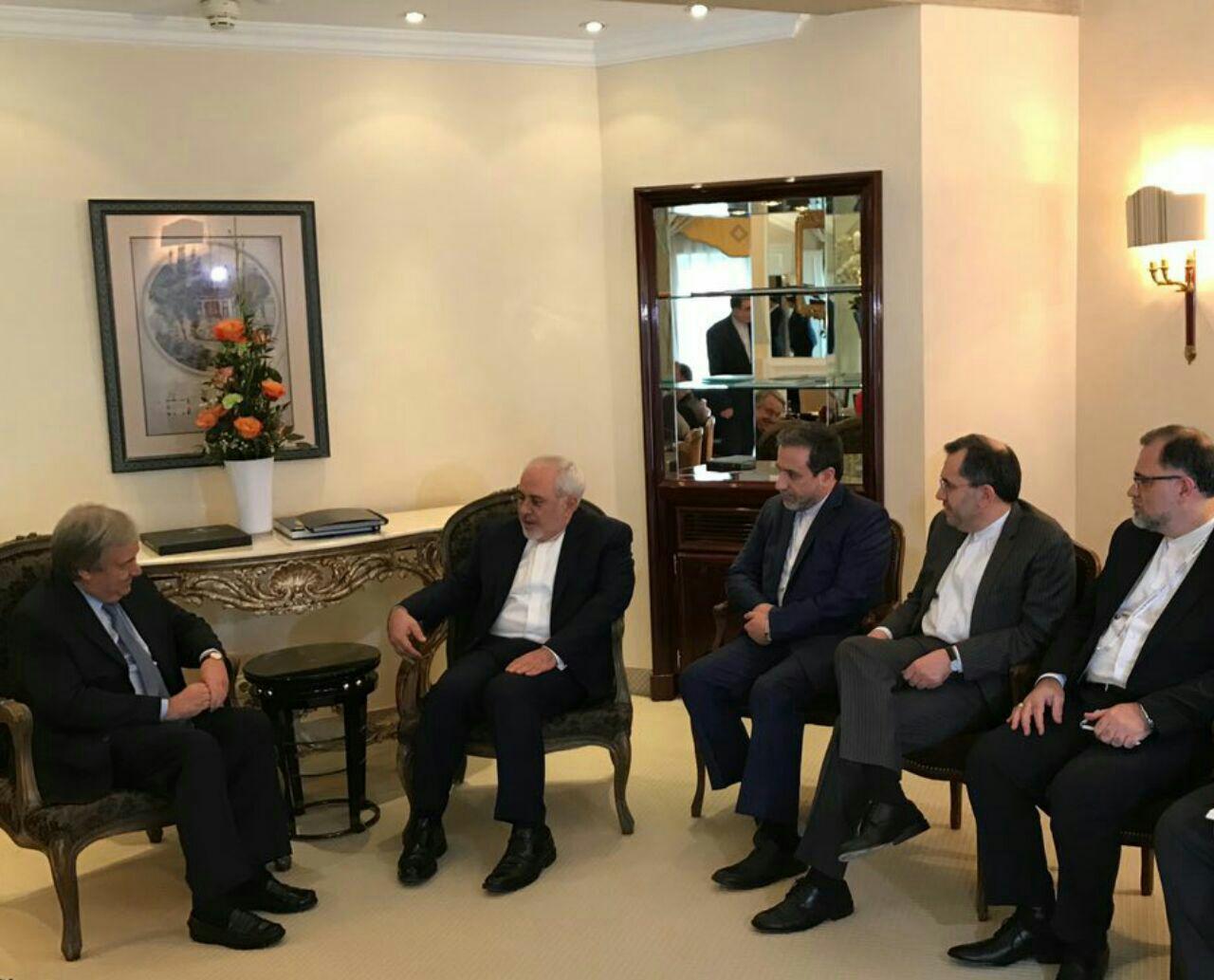 دیدار ظریف با دبیرکل سازمان ملل در مونیخ