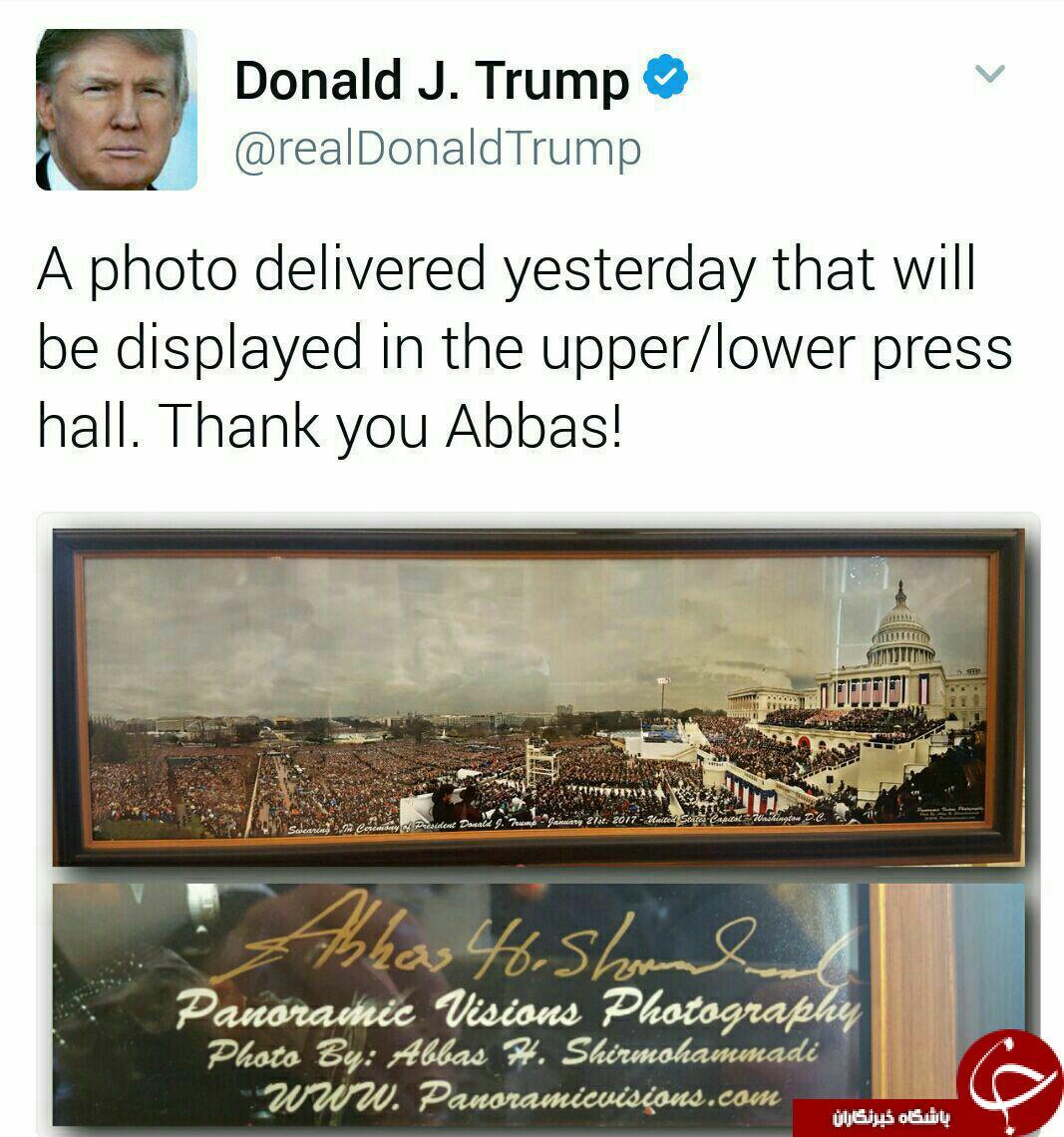 تشکر توئیتری ترامپ از یک ایرانی